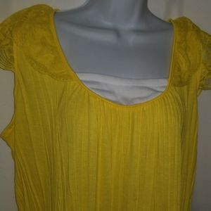 French Laundry L Top Bold Yellow Crinkle Lace Tank